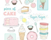 Printable Sweet Treats die cuts -Digital File Instant Download- hand drawn, vintage, ephemera, pastels, cake, ice cream, milk shake, pie