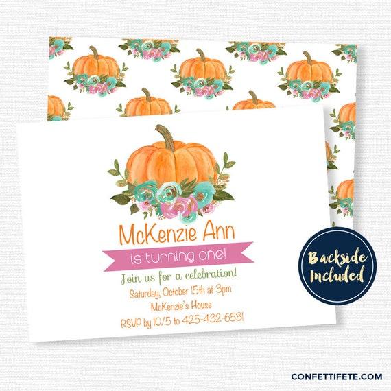 Floral Pumpkin Invitations Pumpkin 1st Birthday Invitation Pumpkin
