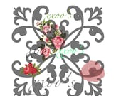 XXOO's downloadable, printable art, red and pink roses, gray black wrought iron trellis, flirty, romantic.