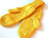 Adult Mittens Yellow - Knit Mittens for Adults - Lemonade Traditional Mittens - Yellow Knitted Mittens - Dark Yellow Winter Mitts