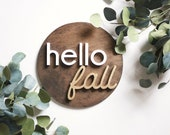 "12"" round white and gold hello fall"