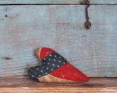 Primitive Heart, Stuffed Heart Ornament, Antique Quilt, Farmhouse Style, Rustic Americana Heart, Red White Blue