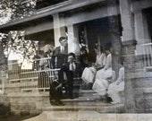 vintage photo 1912 Double Exposure Abstract Movement on the Porch Steps