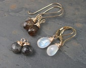 Custom Reserved for Camhanover : Interchangeable 14kt Gold Moonstone Earrings with Andalistite / Rutilated Quartz with additional ear wires