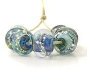 Blue Emerald Lampwork Glass Beads   Deep Blue and Green Glass Bead Set   Emerald and Silver Beads   UK SRA   Artisan beads