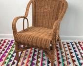 Vintage Wicker Child's Chair / Small Wicker Arm Chair / Boho Nursery Kid's Room Decor / Vintage Wicker Toy Arm Chair / Photo Prop