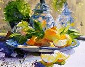 LEMONS AND DELFT  Art Print of Original Oil Painting, Lemons and Delft