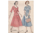 ON SALE 50s 2 Piece Dress UNCUT Butterick 6560 Flared Skirt Fitted Jacket Detachable Collar & Cuffs Size 14 Bust 32 Vintage Sewing Pattern
