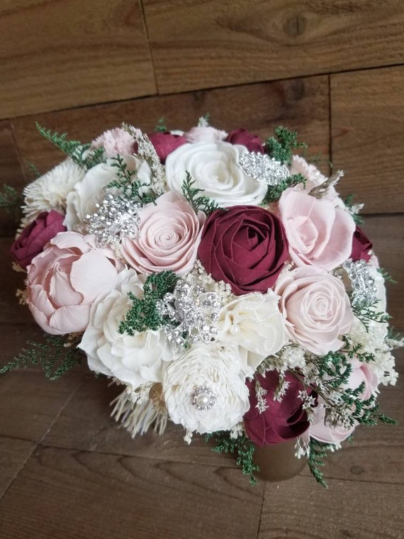 Custom Burgundy Blush and Ivory Sola Wood Flower Bouquet Style 148 ...