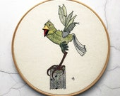 Bird embroidery pattern, green bird embroidery design, pdf download, hand embroidery pattern, cute bird, green parrot