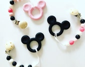 MICKEY & MINNIE Mouse Silicone Teether Pacifier Clip! Disney Baby!