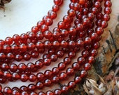 6mm Carnelian, red carnelian, gemstone beads, round beads, red gemstone beads,