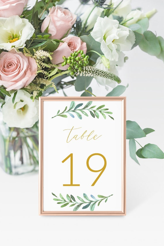 5x7 Wedding Table Number Template Instant Download, Gold Wedding ...