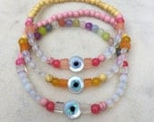 CUSTOM ORDER for Tree Nymph - Evil eye beaded gemstone bracelet set