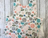 Floral Baby Girl Burp Cloth and Bib Set - Shabby Chic Floral Baby Girl Bibs - Handmade Gift - Newborn Girl Gift - Peach & Teal Flowers Bib