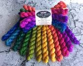 RAINBOW KETTLE SET - 80/20 Merino Sock Hand-dyed Yarn Mini Skein Bundle 12 x 10g