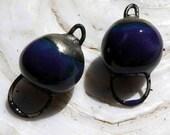 Ceramic Hoopy Ball Earring Connectors -Dark Purple