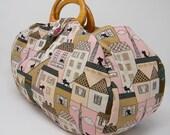 Large project bag. Cat fabric knitting bag.