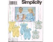 Simplicity 8951 Infant Smocked Jumpsuit Romper Pattern Size NB-18 months, baby layette one-piece sunsuit, Vintage 90s classic sewing pattern