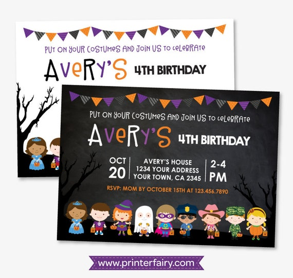 Halloween birthday invitation costume party invitation not so il570xn stopboris Choice Image