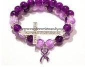Alzheimer Awareness, Domestic Violence Awareness, Beaded Bracelet, Purple Ribbon, Stretch, Support, Custom, Handmade, Beaded Jewelry