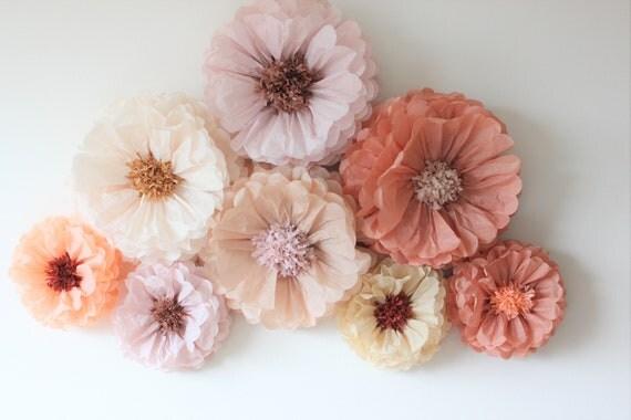 Oversized paper flowers 9 units ash pinktan dusty blush shades for il570xn mightylinksfo