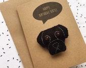 Black Labrador Felt Dog Birthday Card - You're Pawsome Felt Card - Felt Brooch Handmade Pin - Personalised - Thank You Card