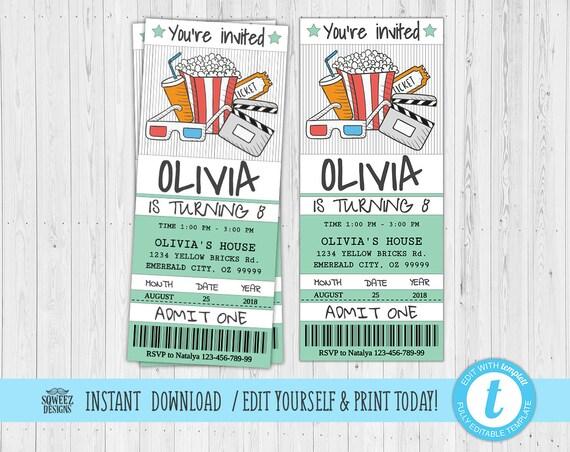 movie invitation movie ticket movie party invitation ticket