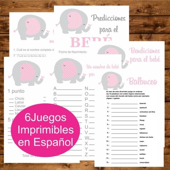 Juegos Imprimibles Baby Shower Instant Download Pack Juegos Para