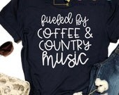 Fueled By Coffee And Country Music SVG, PNG, DXF Silhouette Cameo and Cricut Files