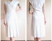 1930s Dress // White Deco Cotton Summer Dress // vintage 30s dress