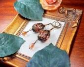 Orange Crystal Victorian Earrings, Brunt Orange Gothic Drops, Antique Bronze Filigree Wrapped, Steampunk Edwardian Titanic Temptations 18010