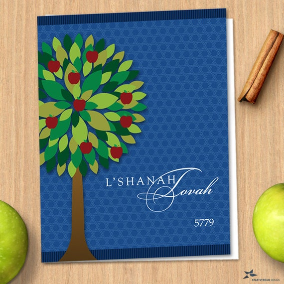graphic regarding Rosh Hashanah Greeting Cards Printable titled Printable Apple Tree Rosh Hashanah Blue Jewish Fresh new Yr 5779