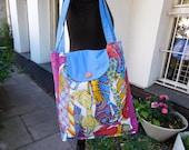 blauer Stoffbeutel mit Krawatten große Tasche  Textilbeutel  ,  Baumwolltasche  ,   großer Stoffbeutel ,  handmade Beutel  ,  Einkaufstasche