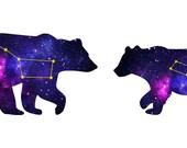 RESERVED for Shana - Ursa Major Ursa Minor Star Cosmic Bear Earrings