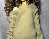 Beige ribbed baggy sweatshirt for SD, dollfie dream,1/3 bjd DOLL