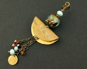 Lampwork Glass Bead and Brass Pendant with Swarovski Crystals
