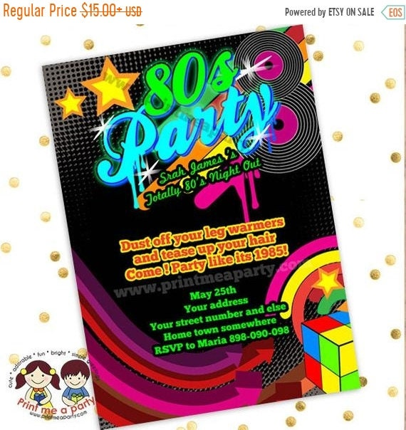 on sale 80s birthday party invitations 80s party invites 80s
