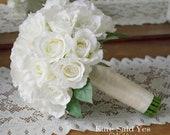 White Rose Wedding Bouquet, Silk Wedding Bouquet, White Rose Bridal Bouquet, Wedding Flowers