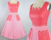 Vintage 50s Dress / 1950s Cotton Melon Pink Sundress Chevron STRIPE Novelty ZIG ZAG Belted Full Swing Skirt Picnic Garden Party Pinup Medium