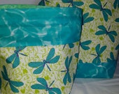 Dragonfly / Dragonflies in the Meadow /  Choice of Zipper / Drawstring Closure, Project Tote Bag / Purple, Teal, Mint / Grocery bag