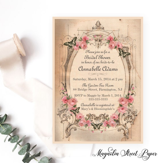 Shabby chic bridal shower invitation vintage pink roses and il570xn filmwisefo