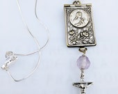 Necklace - Sainte Thérèse Antique Photo Book - French Silver w/ Amethyst and Sterling Silver Crucifix