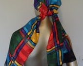 Vintage 1970's Colorful Scarf* Made In Italy . 16 X 60 Inches . 100% Polyester . Head Scarf . Neck Scarf . Geometrical Design Accessory .