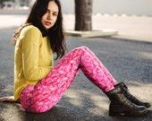 Pink, Women Leggings, Floral, Flower, Rose, Nature, Pattern, Yoga Leggings, Yoga Pants, Clothing, Pants