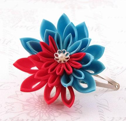 turquoise and red chrysanthemum hair pin Tsumami kanzashi