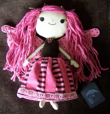 Dilly Dally the Good Good Faery Raggedy Doll with Patchwork Dress by littlemoonoriginals