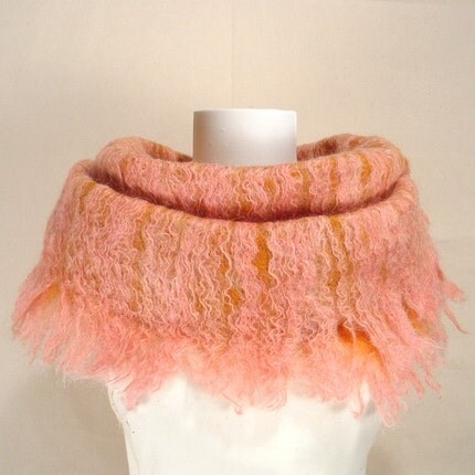 Ochre and Peach Frill Felt Scarf