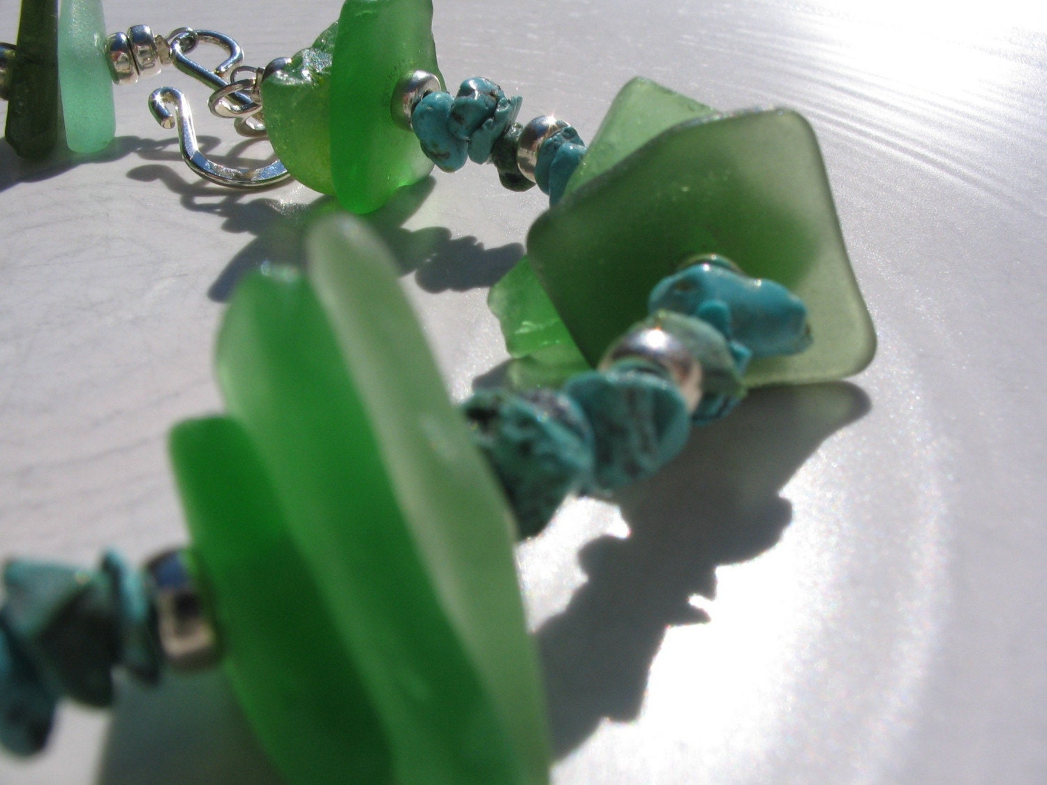 Sea Weed Sea Glass Bracelet