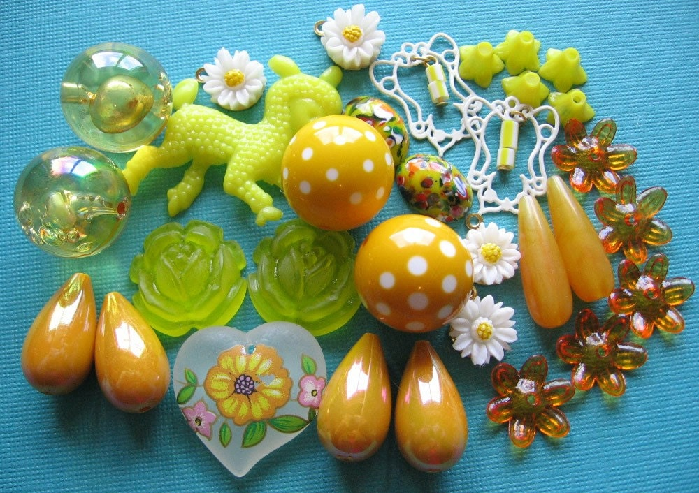 yellow orange vintage bead supplies